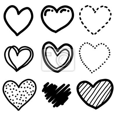 Devet Srdce Kresleny Vektor A Ilustrace Cerne A Bile Rucne