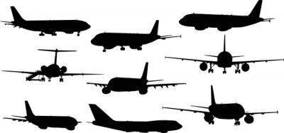 Nálepka devíti letadel siluety izolovaných na bílém
