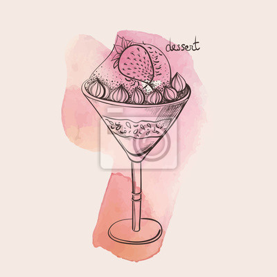 dezert s jahodami zmrzlinou