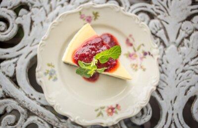 Nálepka Dezert - Tvarohový koláč s ovocem omáčkou a zelené Mint, pohled shora