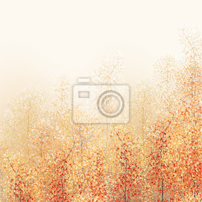 Digital painting landscape - autumn forest, full of fallen leaves, colorful picture , abstract drawing