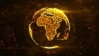 Nálepka Digitální abstraktní koule vyrobená z plexu zářících linií. Obchodní technologická struktura oranžových čar, bodů a částic. Africký kontinent. 3d rendering