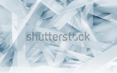 Nálepka Digitální pozadí abstraktní, modré a bílé chaotické nosníky polygonální vzor. Modré tónovaný 3d ilustrace, počítačová grafika