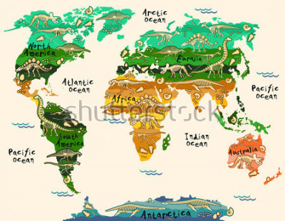 Nálepka Dinosaurs map of the world for children and kids