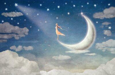 Nálepka Dívka na Měsíci obdivuje noční oblohy - ilustrační výtvarné