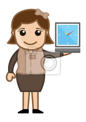 Dívka ukazuje hodinky - Time Running Out - Cartoon firmy Vector