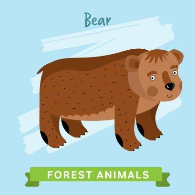 Nálepka Divoká a lesní zvěř. Cartoon znaky ilustrace. Legrační zvířat.
