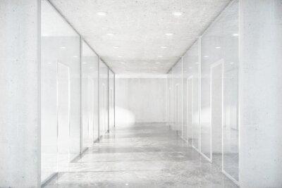 Nálepka Dlouhá chodba s betonovou podlahou a průhlednými stěnami v Moder