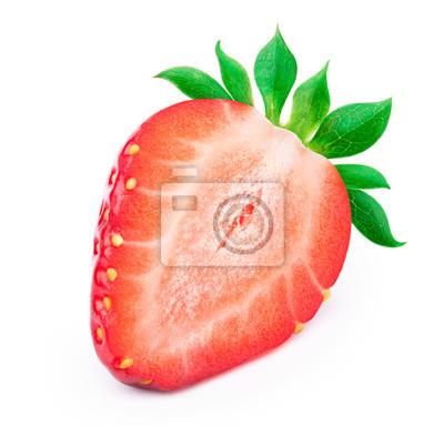 Nálepka Dokonale Upravený nakrájené jahody s listy na bílém pozadí s ořezové cesty