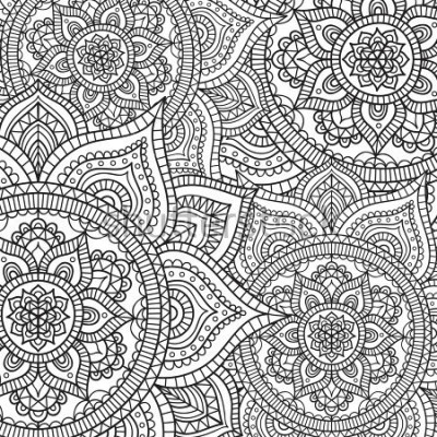 Nálepka Doodle pattern with ethnic mandala ornament. Black and white illustration. Outline. Coloring page for coloring book.