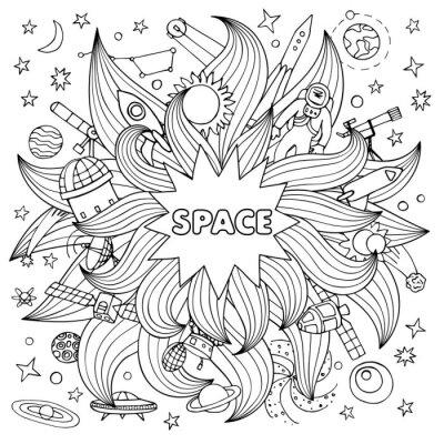 Nálepka Doodle prostor elementy