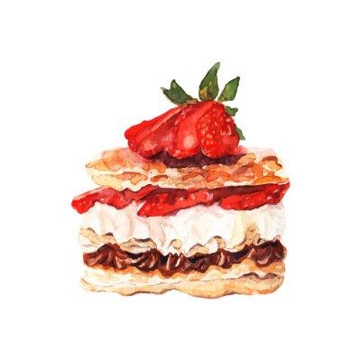 Nálepka Dort s ovocem tažené akvarel. Design pro bannery a karty.