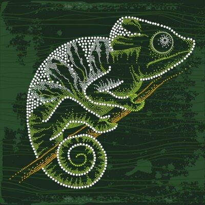 Nálepka Dotted Chameleon sedí na větvi