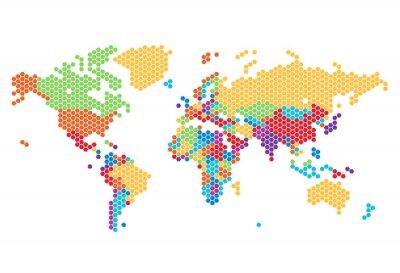 Nálepka Dotted World map of hexagonal dots