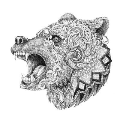 Nálepka Dotwork, tattoo, head enraged bear