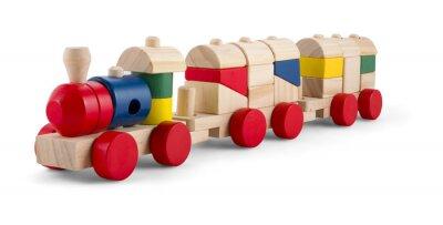 Nálepka Dřevěný vláček s barevnými bloky izolované přes bílé