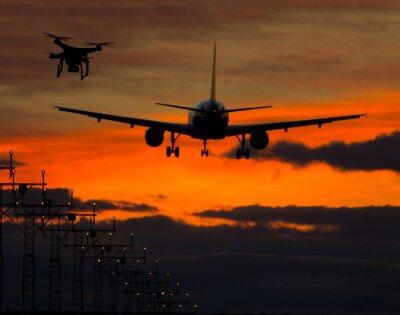 Nálepka Drone létání v blízkosti obchodního letounu