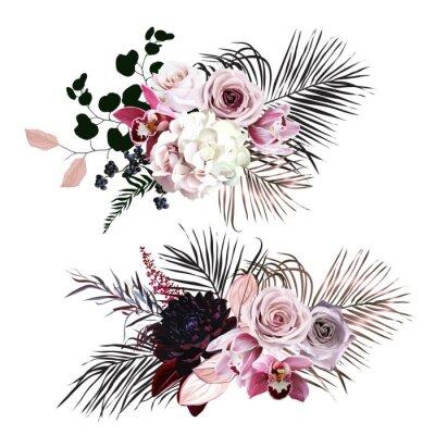 Nálepka Dusty rose, hydrangea, pink cymbidium orchid, berry, bronze, black palm leaves