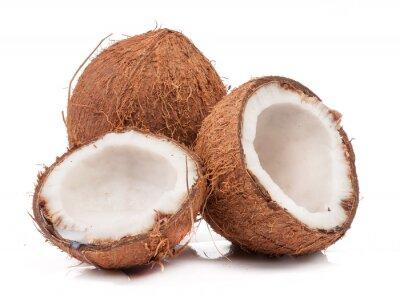 Nálepka Dva kokosový z nichž jeden rozdělena izolované