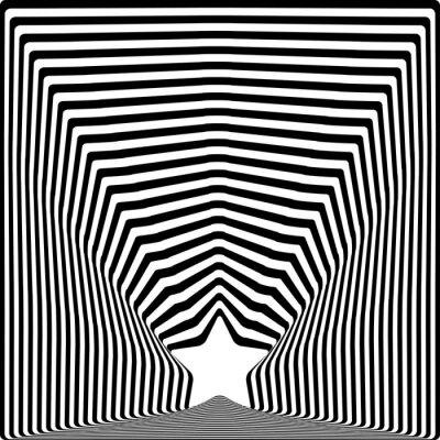 Nálepka É černé pruhy optický klam výtvarná účinek.