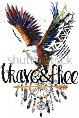 Nálepka eagle. American Indian Chief Headdress. war bonnet. dream catcher background. native american poster. animal illustration. brave and free hand written text.