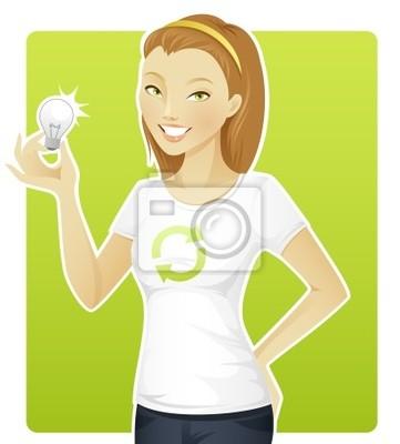 Nálepka Eco-friendly žena drží lampu