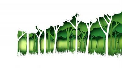 Nálepka Eco zelená příroda lesa pozadí šablony. Největší plantáž s ekologií a ochranou životního prostředí kreativní nápad koncept papírové umění styl. Vektorové ilustrace.