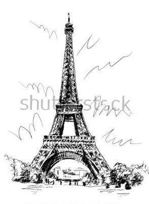 Nálepka Eiffelova věž kreslená pera a sledování, sledování obrazu, kresbaření, Paříž, Francie.