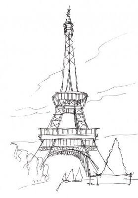 Nálepka Eiffelova věž ruka pero doodle skica