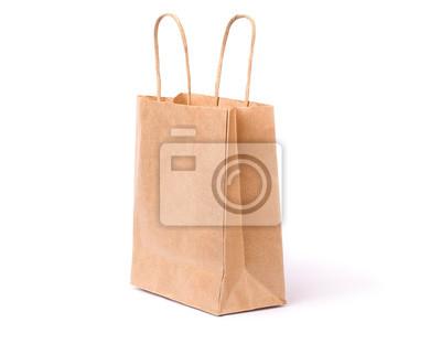 Nálepka Ekologický papír nákupní taška s držadly izolovaných na bílém pozadí s ořezové cesty