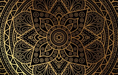 Nálepka Elegant background with gold luxury floral pattern texture and traditional arabian mandala concept, use for islamic ramadan banner design, business card greeting card, and poster design vector eps10