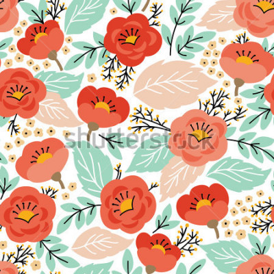 Nálepka Elegantní bezešvé vzor s květinami. Můžete ji použít pro tapety na plochu nebo rámeček pro závěsné nebo plakátové nástěnky, výplně vzorků, povrchové struktury, pozadí webových stránek, textilie a dalš