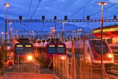 Nálepka Elektrický vlak v Ženevě kolejišti