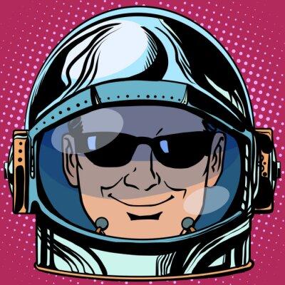 Nálepka emotikon špionážní Emodži tvář muž astronaut retro