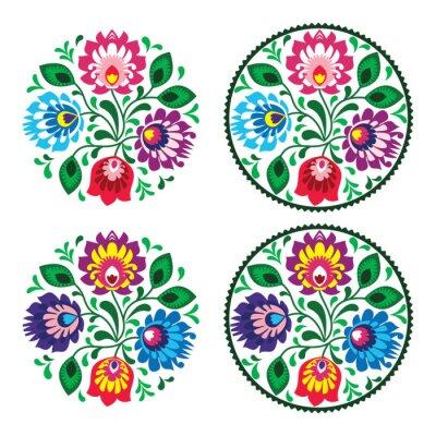 Nálepka Etnické kolo výšivka květiny - tradiční polské