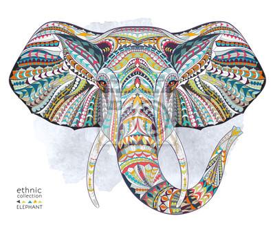 Nálepka Etnické vzorované hlava slona na pozadí Grange / Afričan / Ind / totem / tetování design. Používá se pro tisk, plakáty, trička.