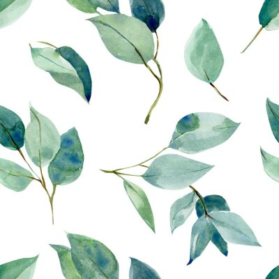Nálepka eucalyptus leaves, seamless pattern, watercolor tropical leaves on isolated white background, digital paper