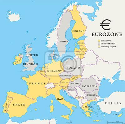 Nálepka Eurozóna zemi Mapa