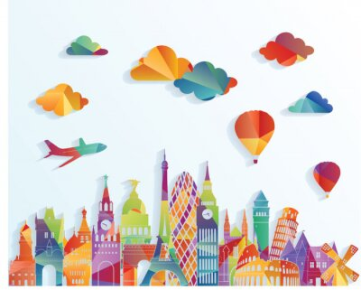 Nálepka Evropa panorama. vektorové ilustrace