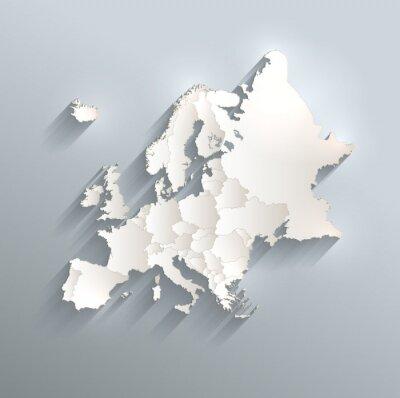 Nálepka Evropa politická mapa vlajka 3D vektorová jednotlivé státy oddělovat