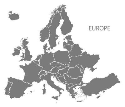 Nálepka Evropa se zeměmi Mapa šedá