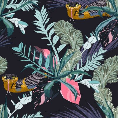 Nálepka Exotic leaves and branches, many kinds of plants and yellow snake seamless pattern. Tropical night. White background.