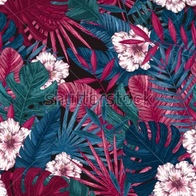 Nálepka Exotické listy a květiny bezešvé vzor. Tropické květinové pozadí. Vektorové ilustrace