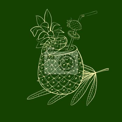 Exotický koktejl v ananasu