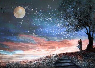 Nálepka Fantasy ilustrace s noční oblohou a MilkyWay, hvězdy měsíc. Žena a muž pod stromem při pohledu na vesmírnou krajinu. Květinovou louku a schody. Malování.