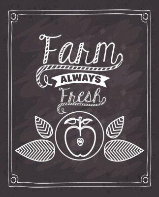 Nálepka farma svěží design potraviny
