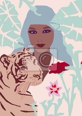 Nálepka fashion girl with tiger illustration African American