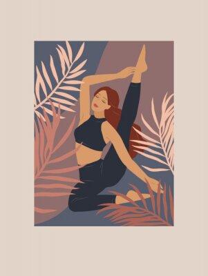 Nálepka Feminine concept. Cute girl doing yoga poses. Lifestyle by young woman. Fashion illustration by femininity, beauty and mental health. Vector cartoon