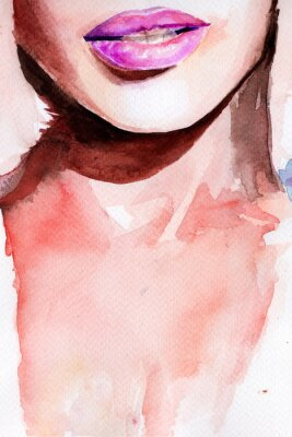 Nálepka fialová rtěnka. rty akvarel