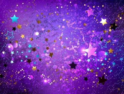 Nálepka Fialové pozadí s hvězdami